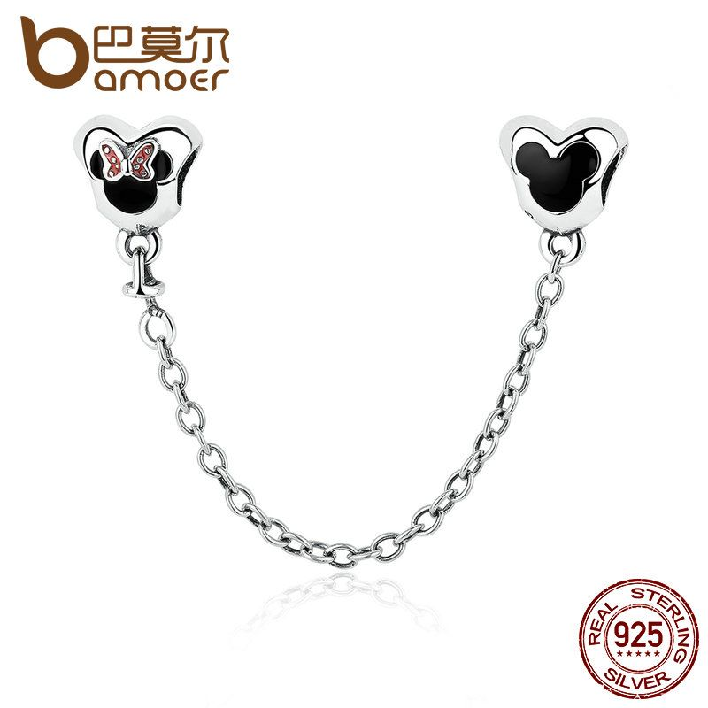 Genuine 925 Sterling Silver Minnie Mouse Safety Chain Stopper Beads fit  Charms Bracelets for Women Jewelry PAS357