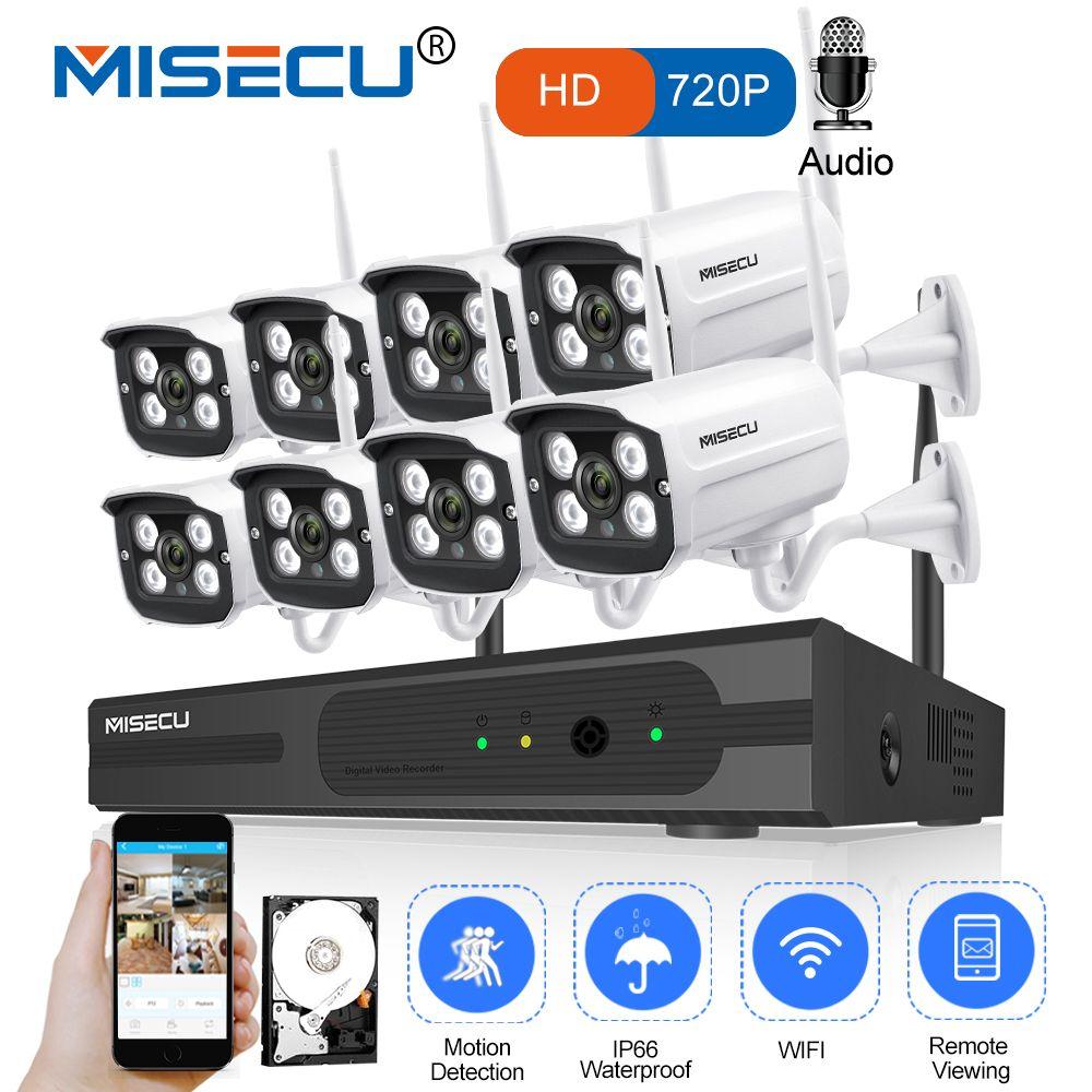 MISECU 8CH NVR WIFI System720P 1MP IP WIFI Camera Audio Record Outdoor Waterproof Plug Play Wireless P2P Night CCTV Security