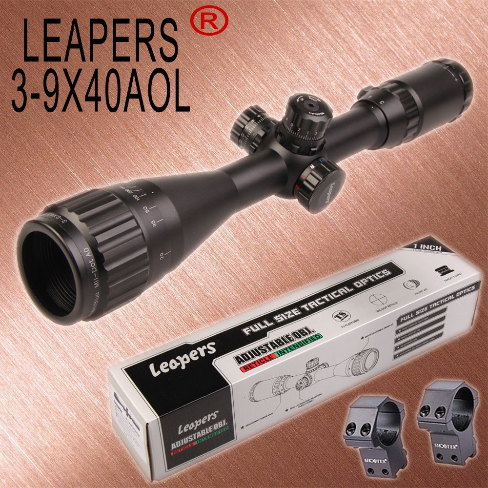 LEAPERS 3-9X40 Hunting Rifle Scopes Sniper Scope Tactical Optics Scopes R/G/B Illuminated For Hunting Rifle Air Guns