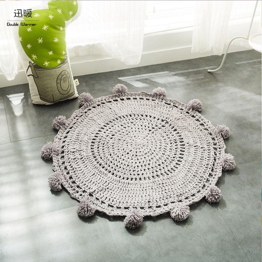Euro Stil gestrickt ausgehöhlten Teppiche Baumwolle Lagerung Pad Matten Quilten Runde Teppiche Durchmesser 80*80 cm weichen Baby-spielzeug Beutel
