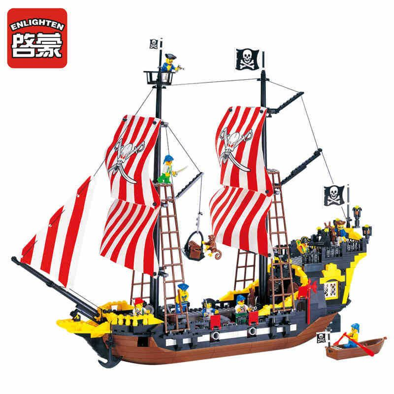 Enlighten 870Pcs Legoings Pirates Ship Black Pearl Model Building Blocks Educational Building Toys For Children