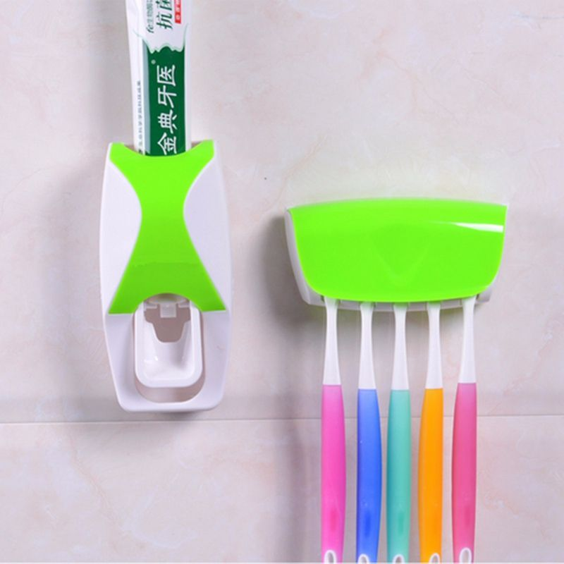 Toothbrush Holder Automatic Toothpaste Dispenser Bathroom Shelves Plastic Wall Mount Stand Squeeze Toothpaste Toothbrush Rack