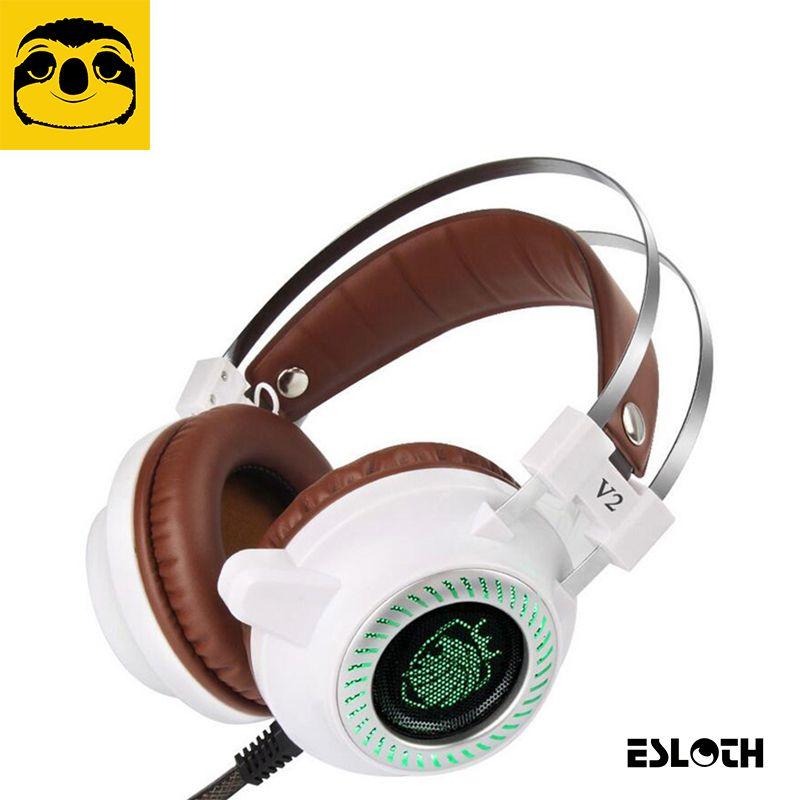 Heißer laptop peripheriegeräte v2 pro usb wired gaming lautsprecher headset 3,5mm led stereo pc kopfhörer mikrofon stereo bass führte licht