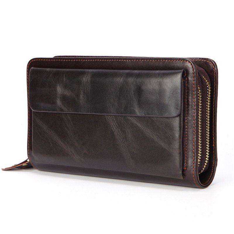 Portefeuille d'embrayage en cuir véritable pour hommes d'affaires sac de téléphone en cuir Long sac à main pour homme de grande taille porte-monnaie pratique porte-carte sac d'argent