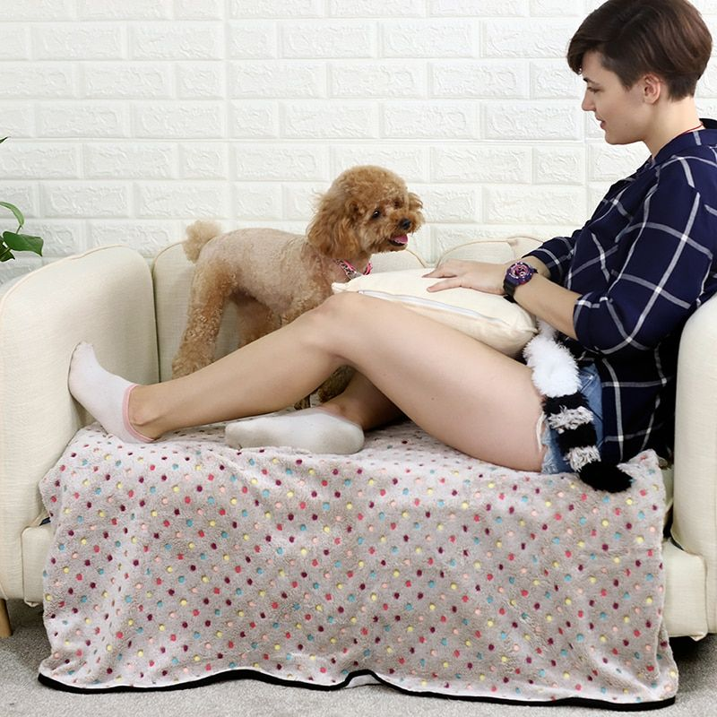 Couverture douce mignonne pour les chiens couverture de point colorée 3 couleurs tapis 3 tailles livraison gratuite serviettes pour animaux de compagnie pour chien animaux chat grande qualité