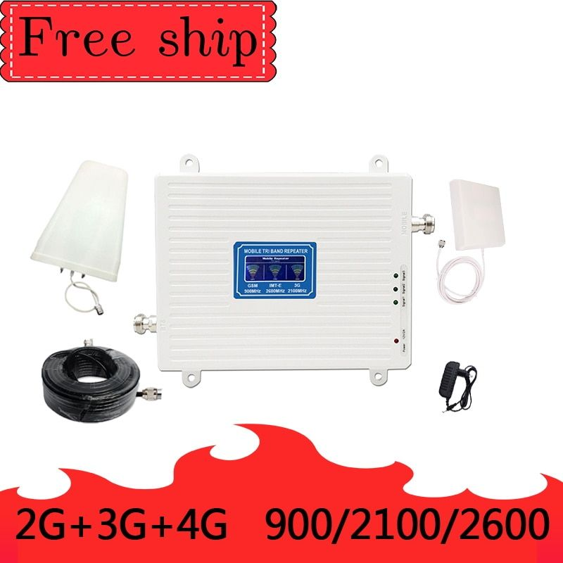 GSM 2G WCDMA 3G LTE 4G 900/2100/2600MHZ Handy Signal Booster 2G 3G 4G LTE 2600 Repeater Handy Booster