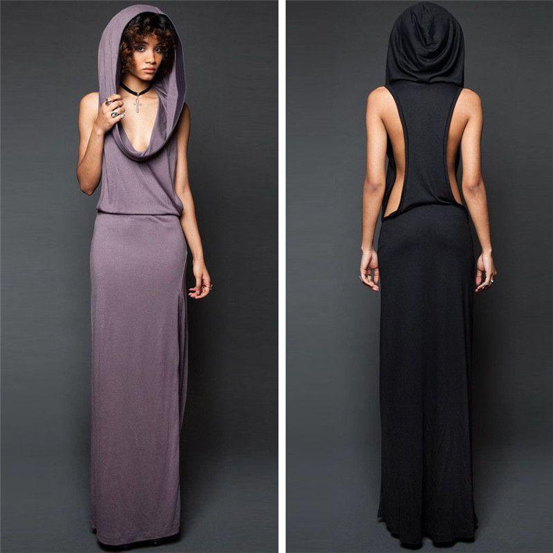 Hot Maxi robe femmes nouveau Design Sexy robes printemps été solide noir violet à capuche sans manches dos nu Split Kleid