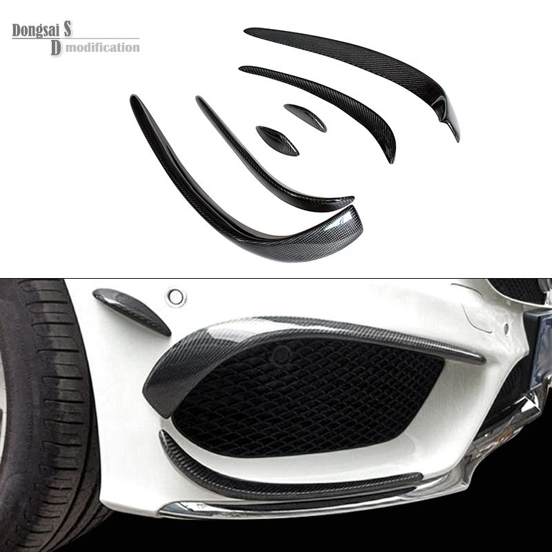Mercedes W205 Carbon Fiber Bumper Canards For Benz C Class W205 With AMG Package C63 AMG 2015 + C180 C200 C250 Splitter Canards