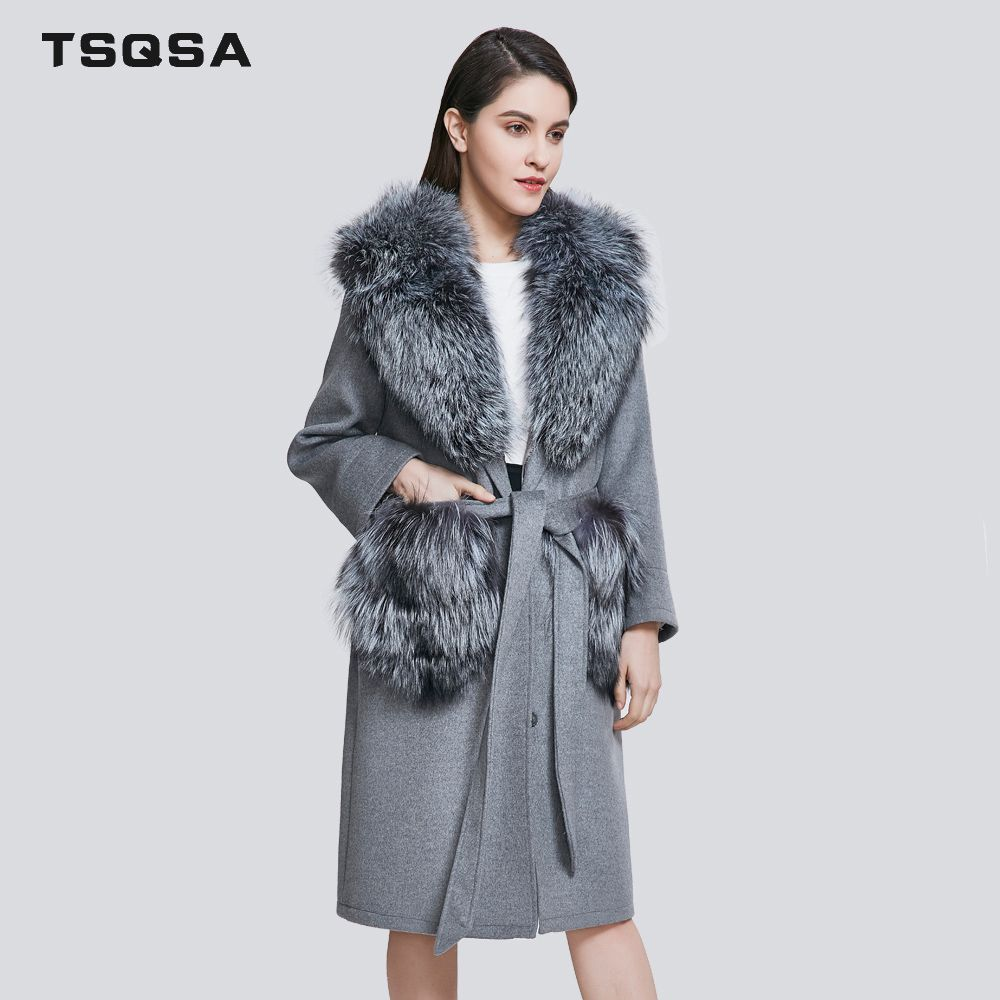 TSQSA Fashion Real Fur Coats Woolen Parkas Clothing Women Real Fox Fur Lady Clothes Casual Generous Brand Female Coat TAC1811