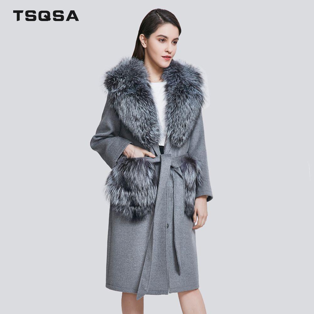 TSQSA Mode Echt Pelz Mäntel Woolen Parkas Kleidung Frauen Echt Fuchs Pelz Dame Kleidung Casual Großzügig Marke Weiblichen Mantel TAC1811