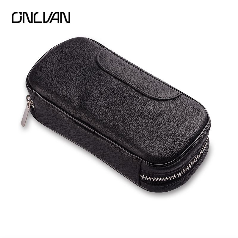ONLVAN Genuine Leather Coin Pocket Handbags Business Style Bags for Cigar Organizer Cion Pouch Women Bags High-capacity Wallet