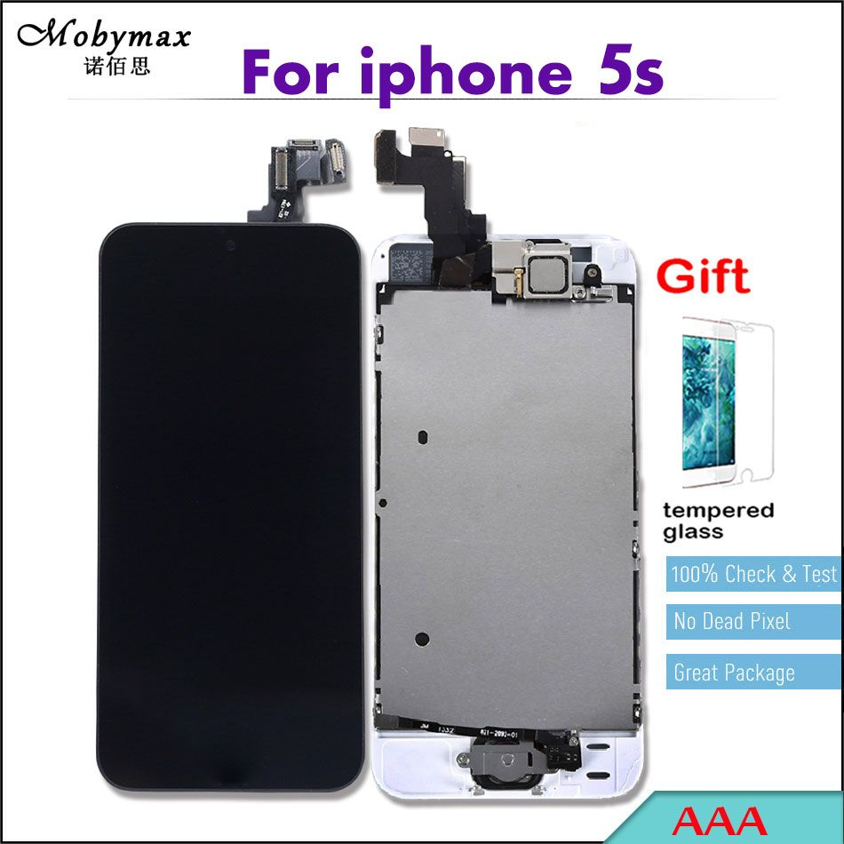 Mobymax Ecran Pantalla AAA LCD Full Assembly For iPhone 5s A1457 Touch Glass Screen Digitizer Display+Home Button+Front Camera