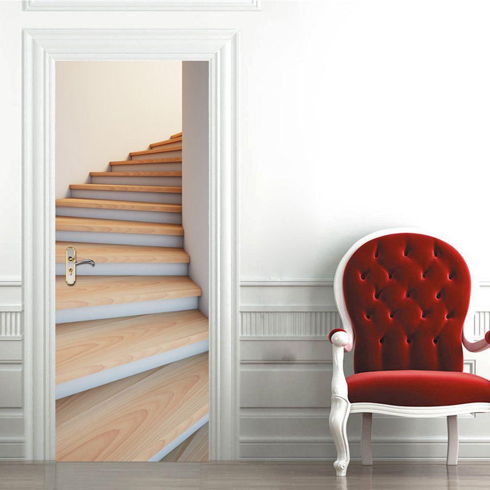 77*200 cm 2 pcs 3D Porte Affiche Stickers Muraux DIY Peint Chambre Vinyle Amovible Porte Autocollant Décoration de La Maison Salon