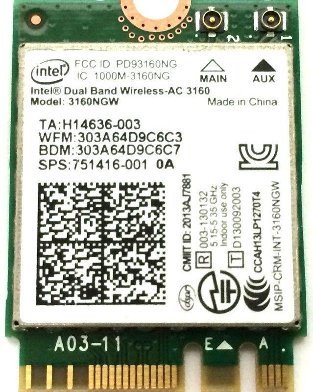 Intel Dual Band 3160ngw Беспроводной-AC 3160 3160ac ac3160 802.11ac Wi-Fi + Bluetooth для ASUS ux301la NGFF беспроводной сетевой карты
