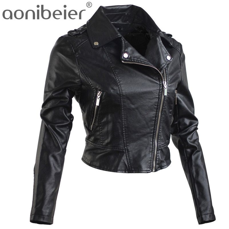 Aonibeier Motorcycle Jacket Women 2017 Spring Autumn Fashion Turn Down Collar Short Coat Zipper Long Sleeve Ladies Tops