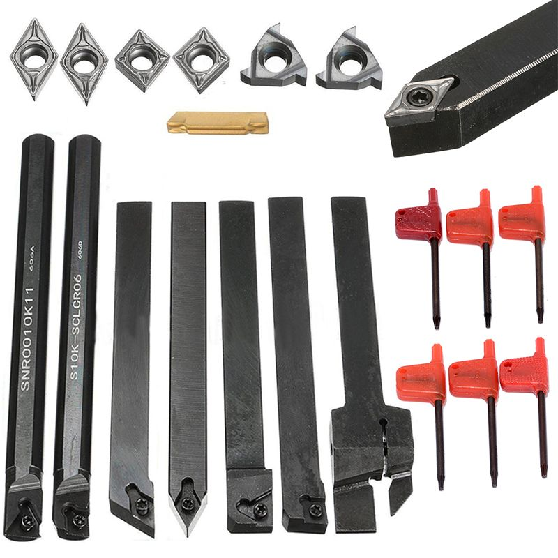 7pcs DCMT/CCMT Carbide Inserts + 7pcs Tool Holder Boring Bar 100/125x10mm + 7pcs T8 Wrenches For Lathe Turning Tools