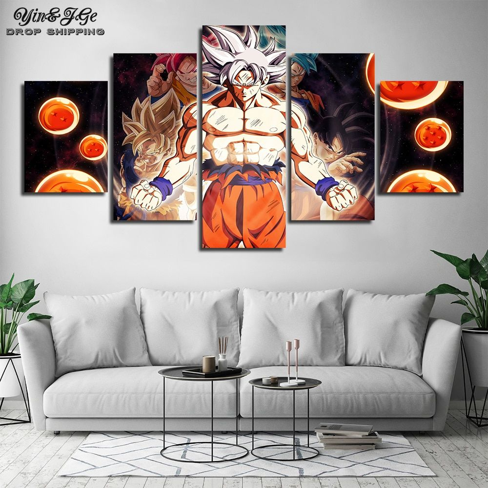 5 Piece Canvas Art Dragon Ball Modern Wall Painting For Kids Room Anime Goku Picture Artworks Home Decor Printed Popular Posters