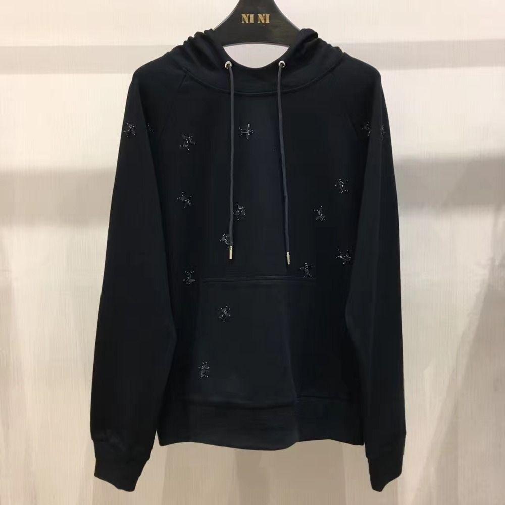 2017 Осень с капюшоном черный Sweatershirt
