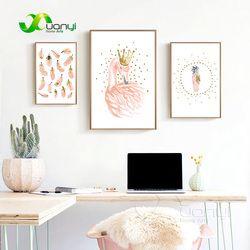 Flamant rose Filles Toile Peinture Aquarelle Nordique Affiche D'impression de Mur de Crèche Art Photo Pour Chambre D'enfants Home Decor Sans Cadre