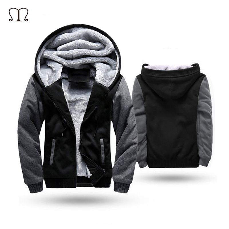 European Fashion Bomber Mens Vintage Thickening <font><b>Fleece</b></font> Jacket Autumn Winter Designer Famous Brand Male Slim Fit Warm Coat 2018