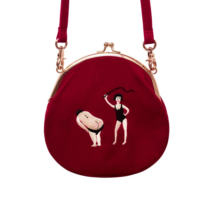 YIZI Vintage Velvet Embroidery Women Messenger Bags In Semi-circle Round Shape Original Designed(FUN KIK)