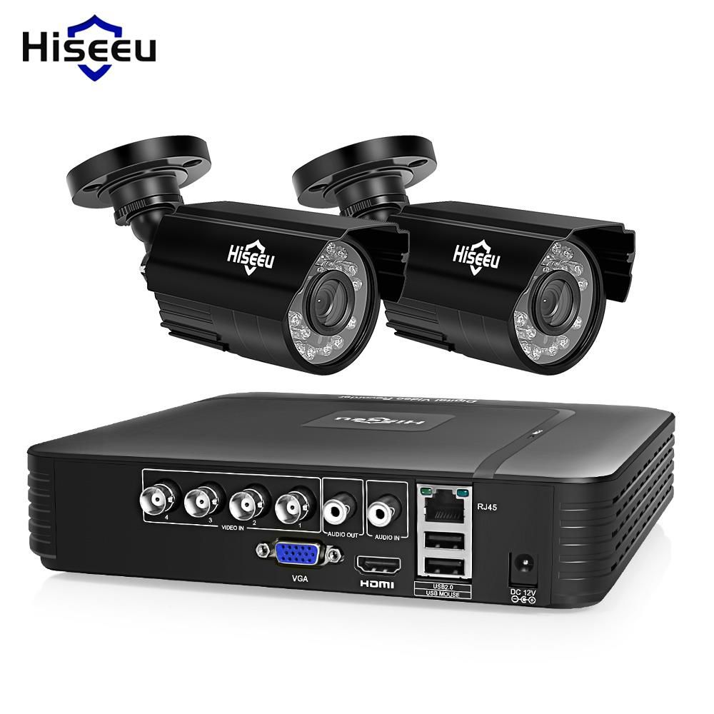 Hiseeu HD 4CH 1080N 5in1 AHD DVR Kit CCTV System 2pcs 720P/1080P AHD waterproof/dome IR Camera 2MP P2P Security Surveillance Set