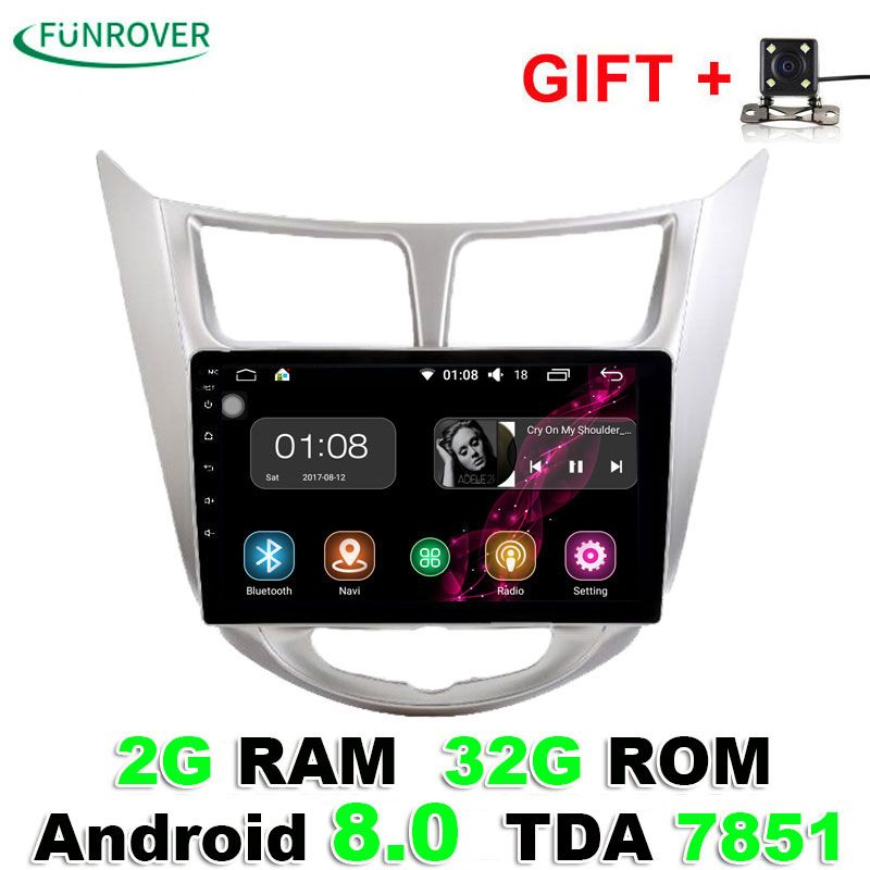 2018 Funrover 2g+32g Android8.0 Car radio tape recorder Gps 9 Inch For Hyundai Solaris Verna i25 Radio Video Navigation Wifi Bt