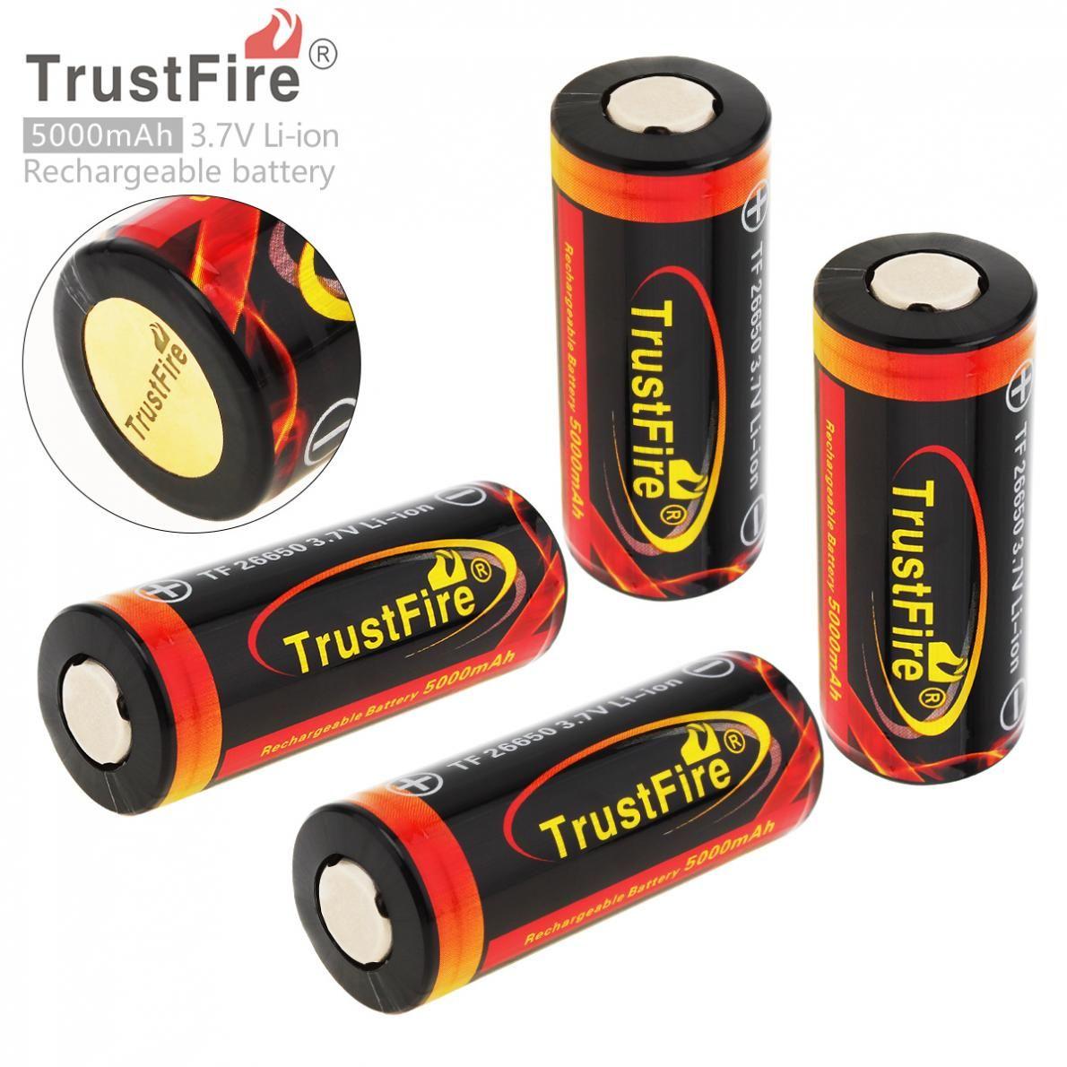 4 pièces TrustFire 3.7 V 26650 Rechargeable Batterie 5000 mAh Capacité Au Lithium Batteries Li-ion avec PCB Protégé pour lampe de Poche