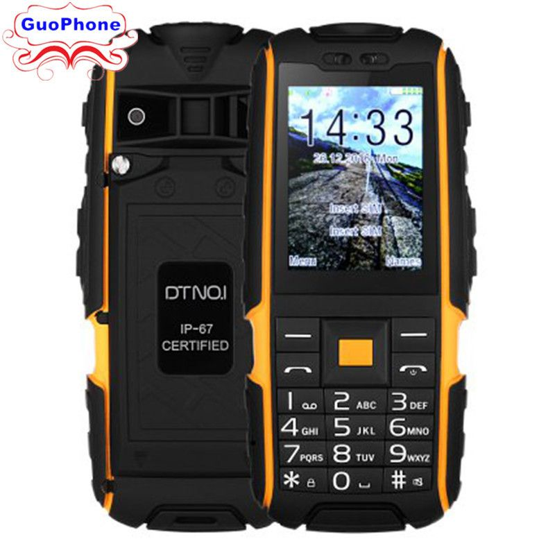 DTNO.1 A9 Quad Band Unlocked Phone 2.4 inch IP67 Waterproof Dustproof Shockproof FM Flashlight Camera Bluetooth