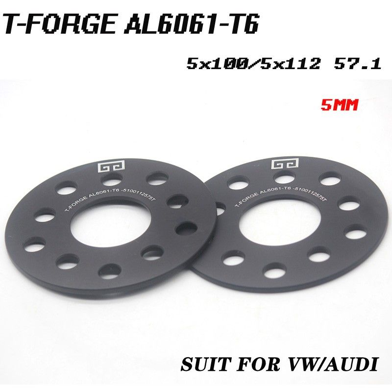 2PCS Alloy Aluminum Wheel Spacer Of The PCD 5x100/5x112 mm HUB 57.1mm 3/5/8mm Thickness Wheel Adapter suit for VW AUDI Universal
