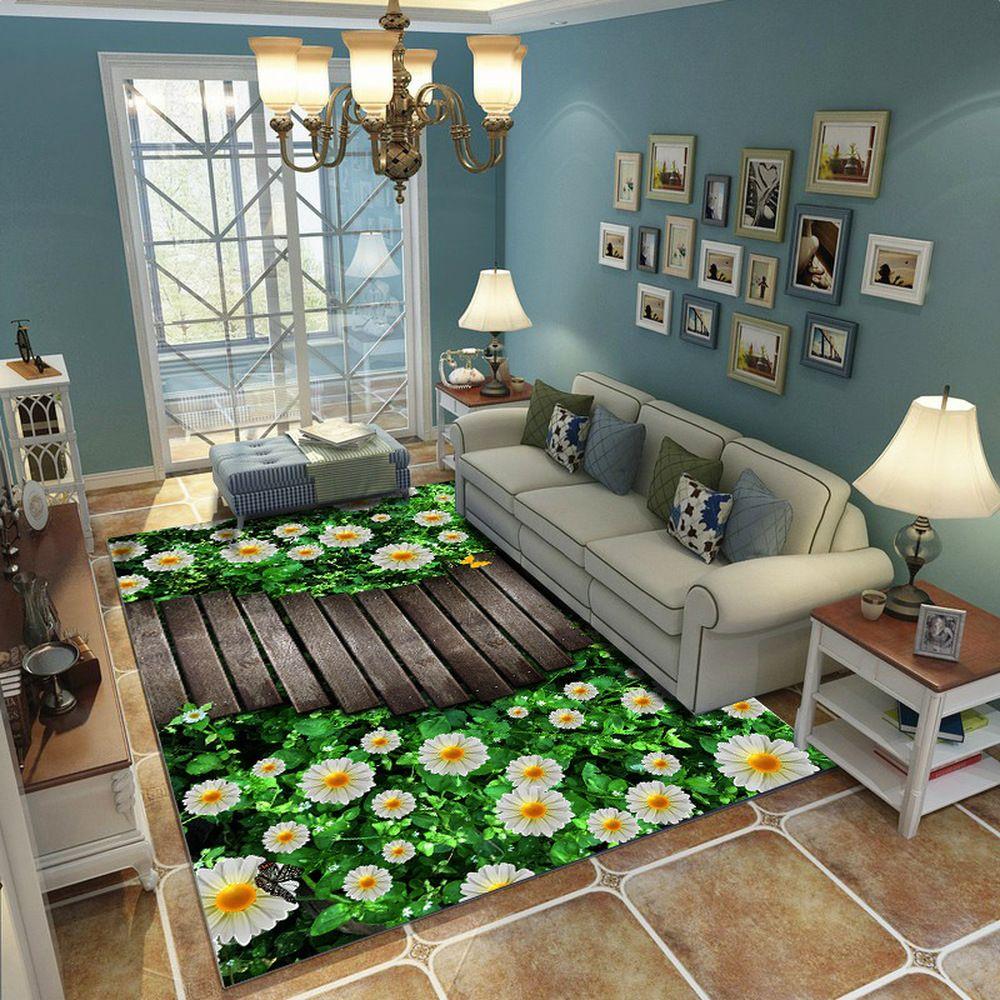 Nature Green 3D Effect Carpet High Quality Pastoralism Rugs Parlor Bedroom Outdoor Floor Mat Soft Anti-slip Bedside Blanket