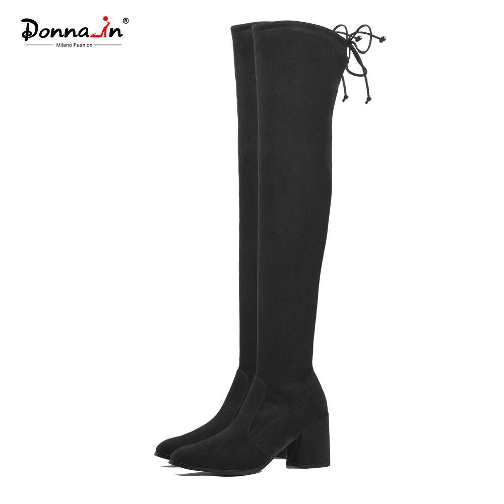 Donna-dans La Cuisse Haute Bottes De Mode sur le Genou Bottes Femmes Stretch chaussette Longue Bottes Bout Carré Épais Haute Talons Noir Chaussures Dame