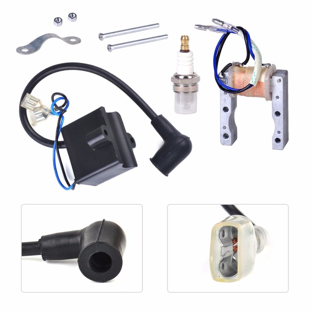DWCX Motorcycle Ignition Coil+Magneto Stator+Spark Plug Fit for 49cc 50cc 60cc 80cc 2 Stroke Engine Motor Motorized Bicycle