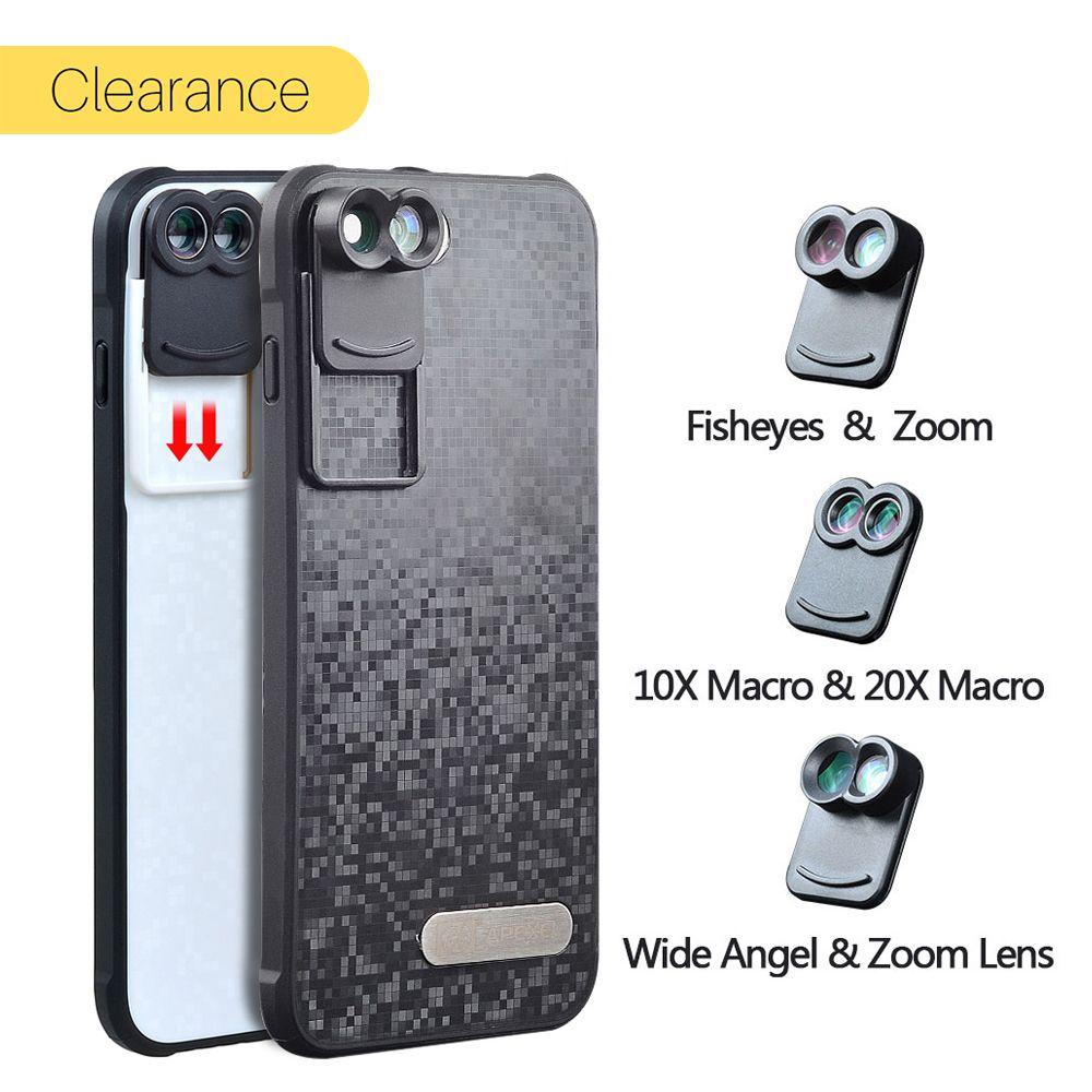 Ulanzi Pour Apple iPhone 8 Plus 7 Plus Double Téléphone Appareil Photo lentille Fisheye Grand Angle 20X Macro Télescope Zoom Lentilles avec Cas couverture