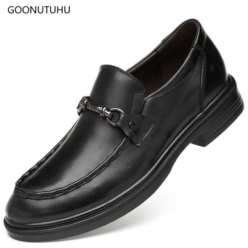 2019 fashion men's dress shoes genuine leather cow classic black shoe man office formal shoes for men loafers slip-on size 35-47