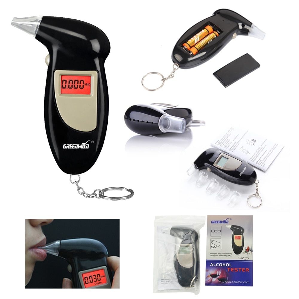 Free shipping Digital LCD Alcohol Breath Analyzer Breathalyzer Tester Keychain Audible Alert for driver