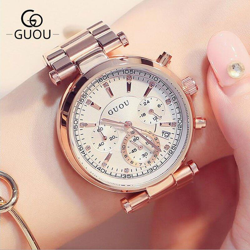 GUOU Mujeres Del Reloj de Acero de Lujo Relojes de Pulsera Automático Fecha de la mujer Multi-runtioan Señoras Reloj relogio feminino reloj saat mujer