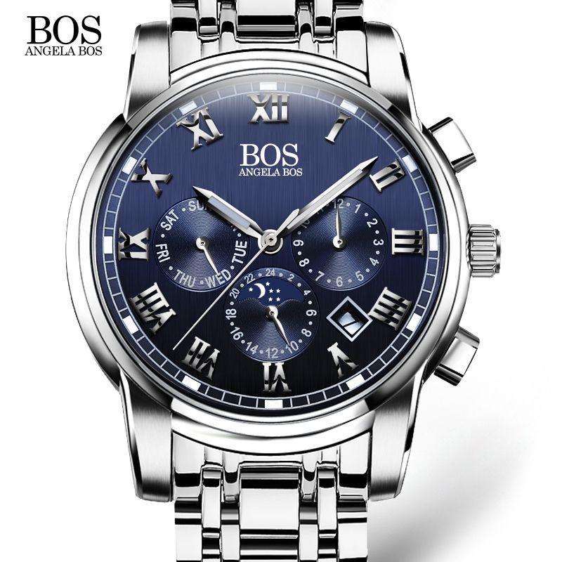 ANGELA BOS Business Stainless Steel Quartz Watch Men Date Week Month Waterproof Luminous Mens Watches Top Brand Luxury 2017