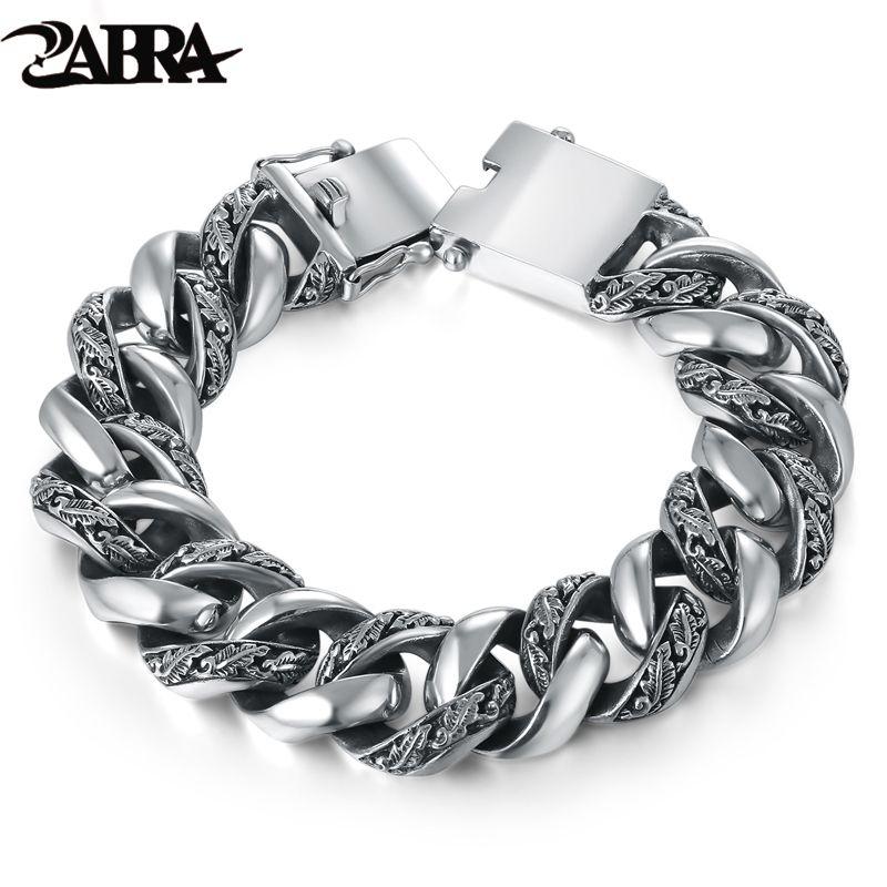 ZABRA Anlage Totem Echtem 925 Silber Armbänder Punk Rock Vintage Schwere Sterling Silber Armband Männer Luxus Männlichen Biker Schmuck
