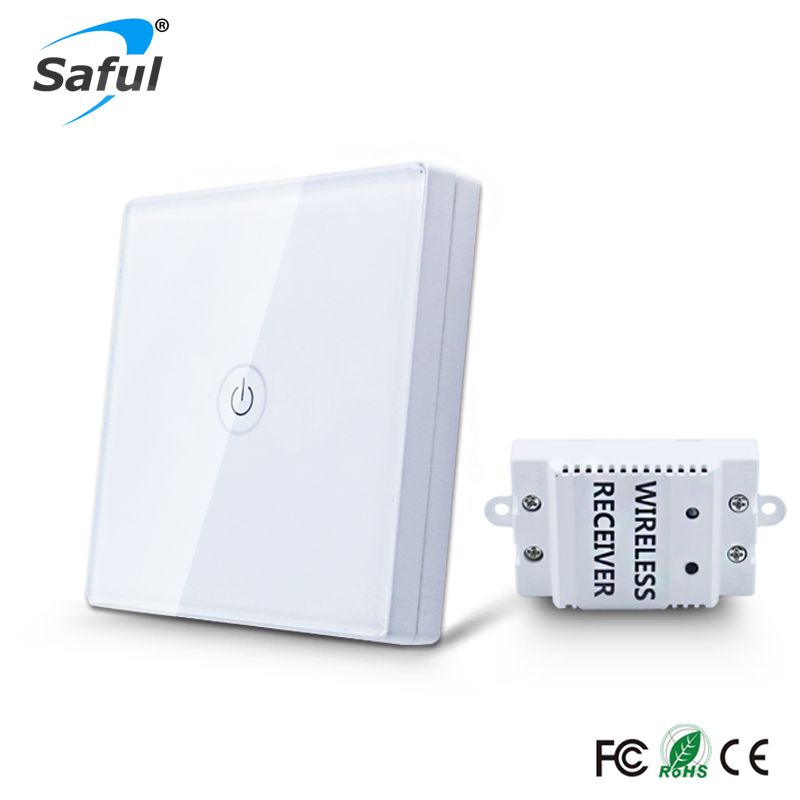 12V Remote Wireless Touch Switch 1 Gang 1 Way,Crystal Glass Switch Touch Screen Wall Switch For Smart Home Light Free shipping