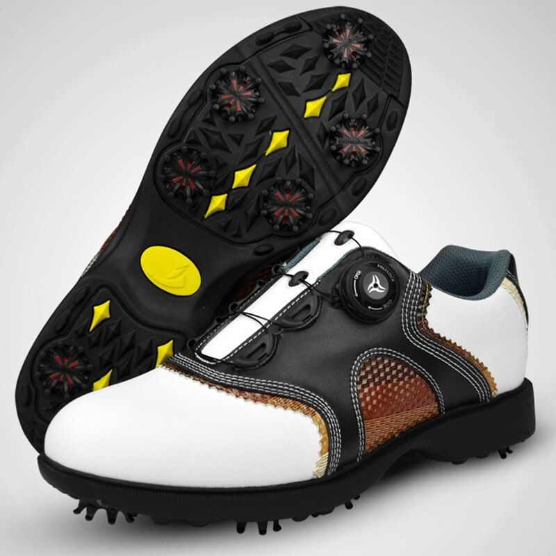 2016 patent Golf Shoes Mens Leather shoes laces send activities nail automatic revolving spikes breatheble golf shoes 001