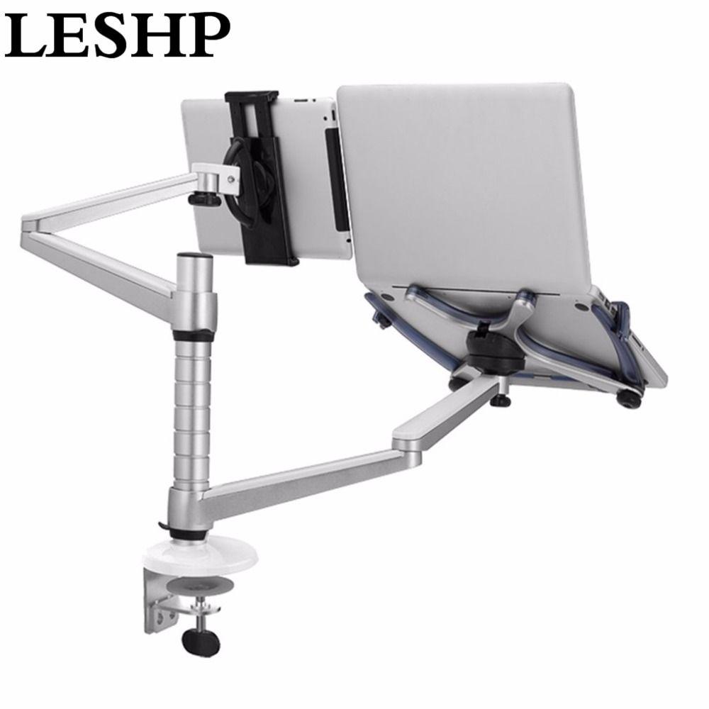 LESHP Faul Tablet Laptop Dual Stehen Verstellbare Höhe Drehbare Halter für Notebook innerhalb 10-16 zoll und Tablet PC 7-10 zoll