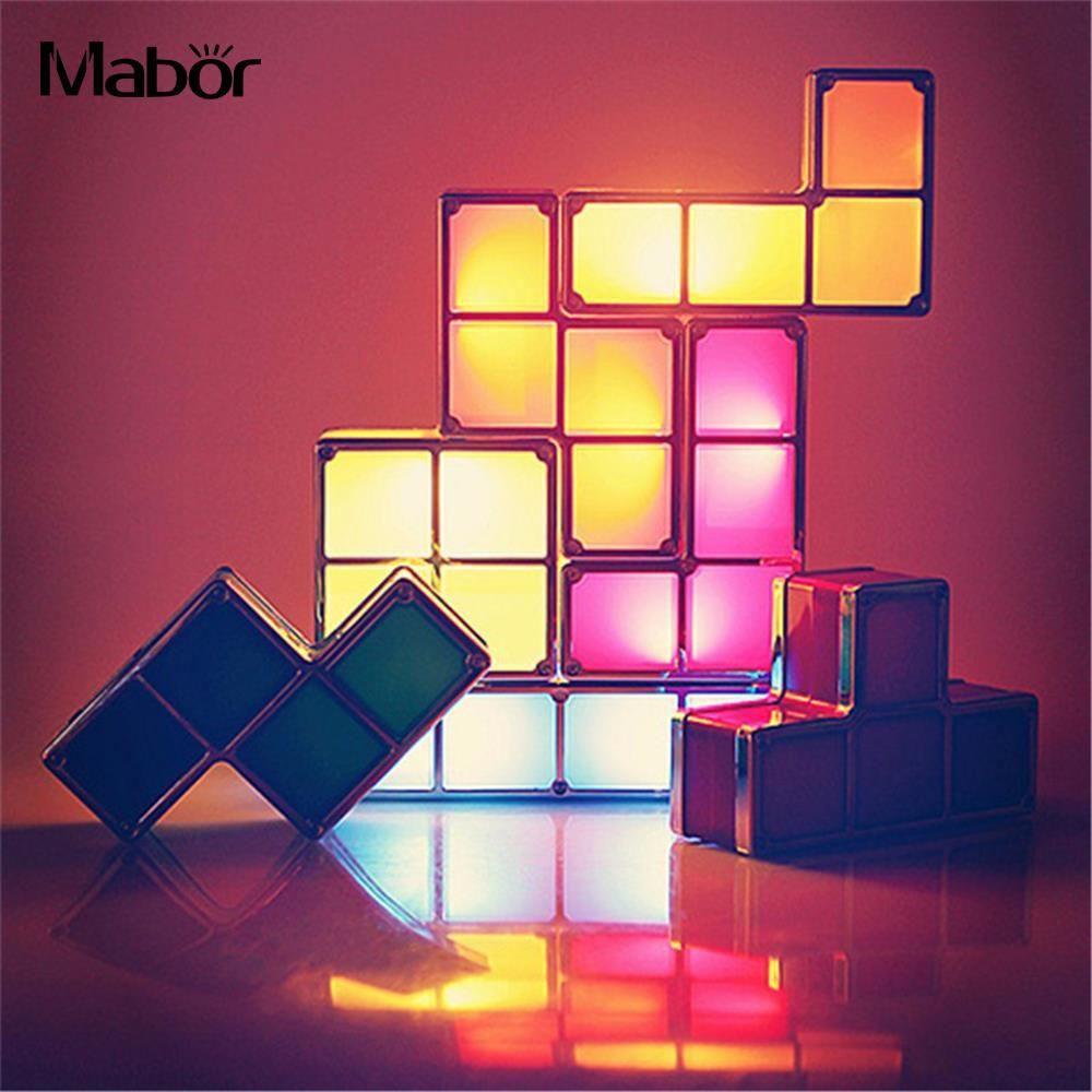 Night Light DIY Night Lamp Creative Tetris Block Fashion Constructible Atmosphere Lamp LED Light US Plug