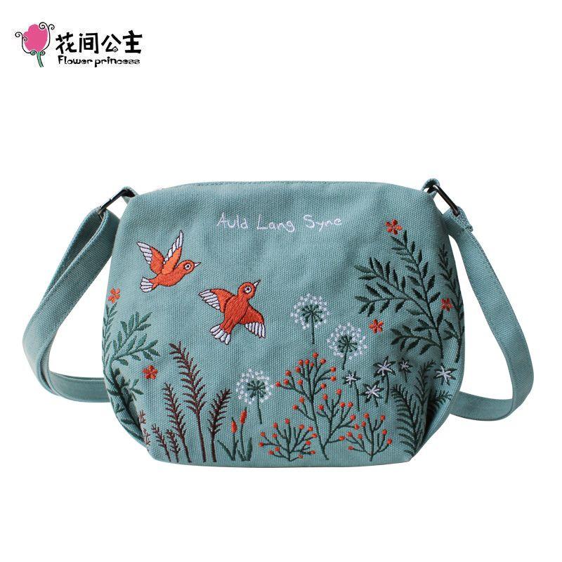 Fleur princesse Design original sac pour femme avec broderie toile filles sacs à bandoulière femme sac à bandoulière petits sacs à main décontractés