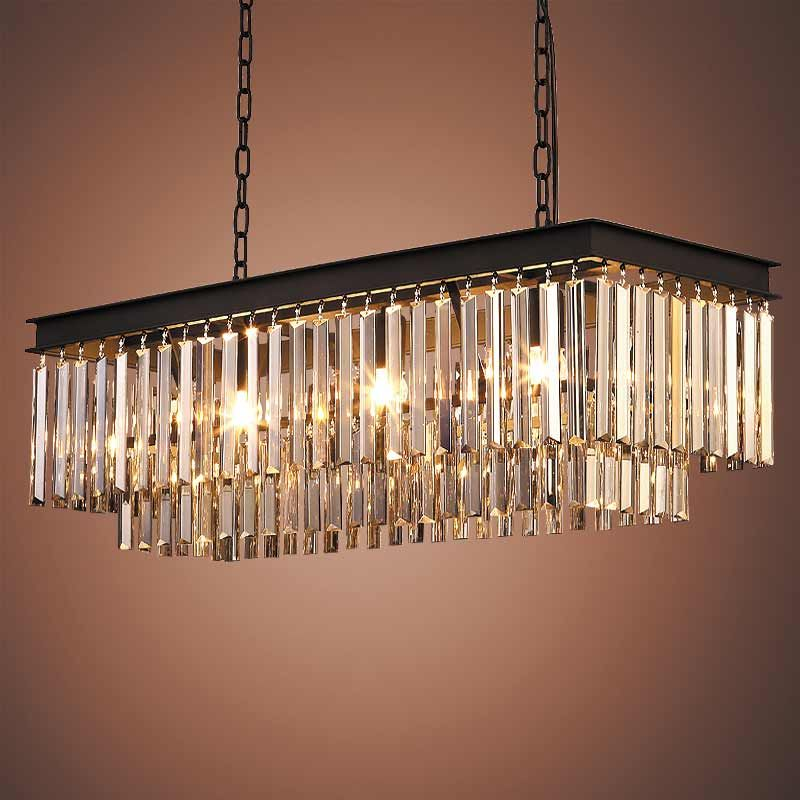 E27 American Country Vintage Amber Crystal Lights Pendant Lamps for Living Room Kitchen Black Iron Retro Home Lighting Fixtures