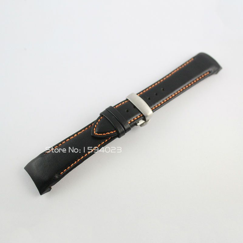 23mm (boucle 20mm) T035617/T035439A argent papillon boucle Orange cousu noir lisse bracelet en cuir véritable pour T035