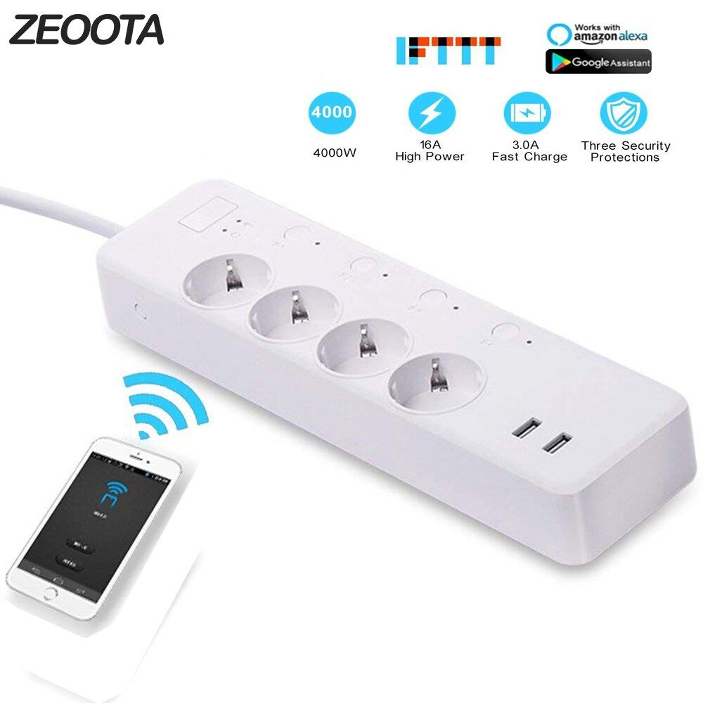 WiFi Smart Power Strip,Intelligent Plug,Wireless Timer,Remote Control by Smartphone for Android/iOS/Google Home/Amazon Alexa