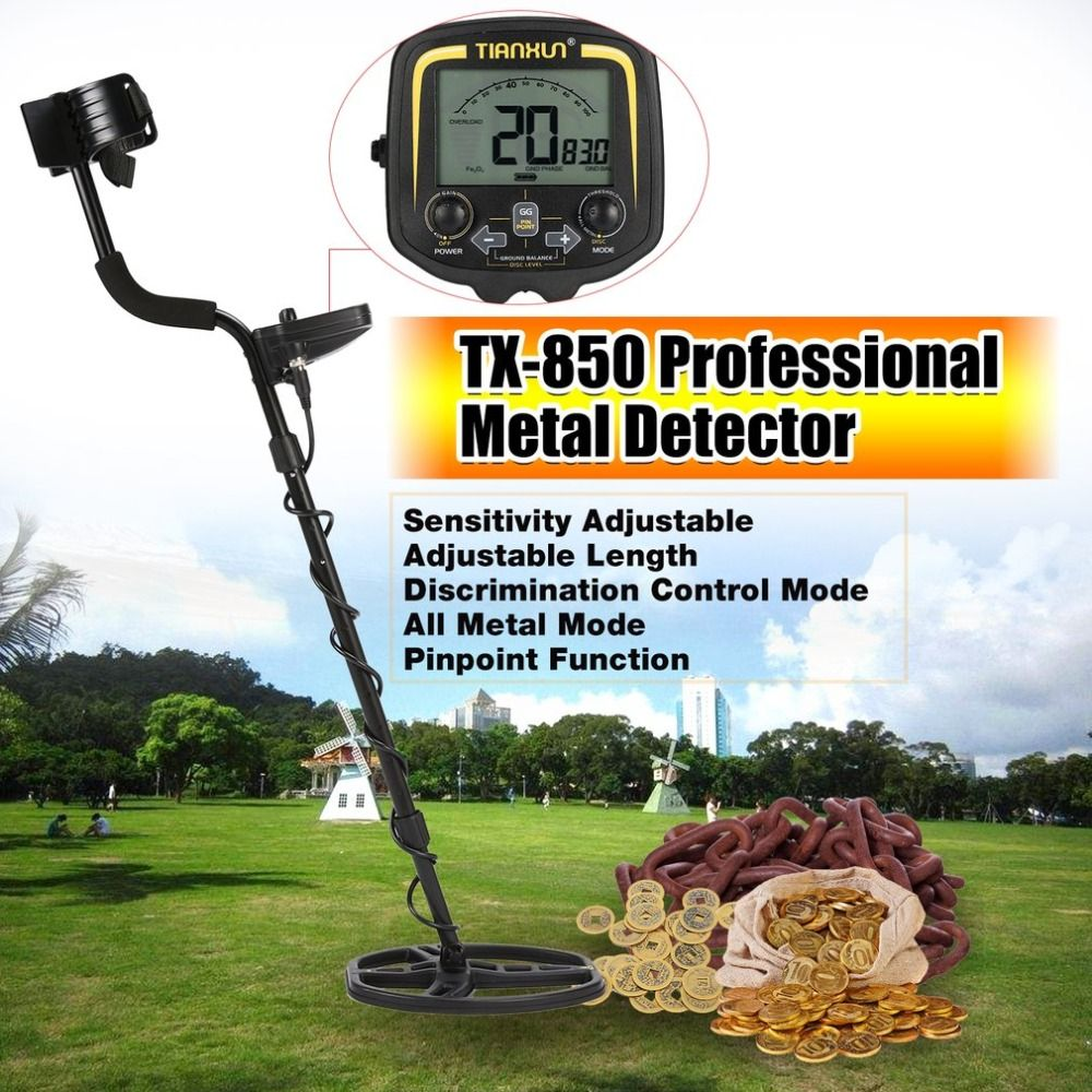 TX-850 Professional Underground Metal Detector Handheld Treasure Hunter Gold Digger Finder With Headphone LCD Display