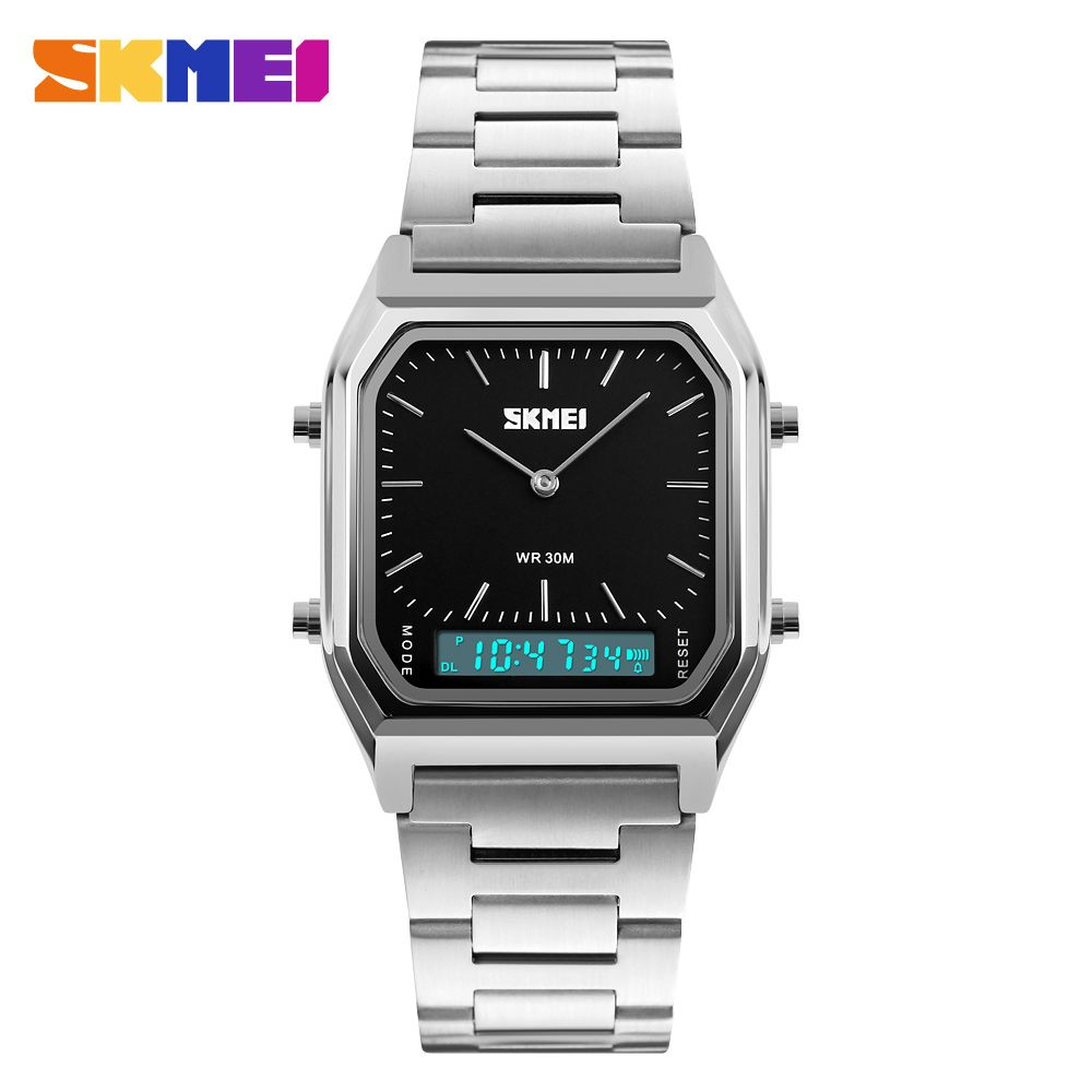 SKMEI Luxury Fashion Casual Quartz Watch Waterproof Stainless Steel Band <font><b>Analog</b></font> Digital Sports Watches Men relogio masculino