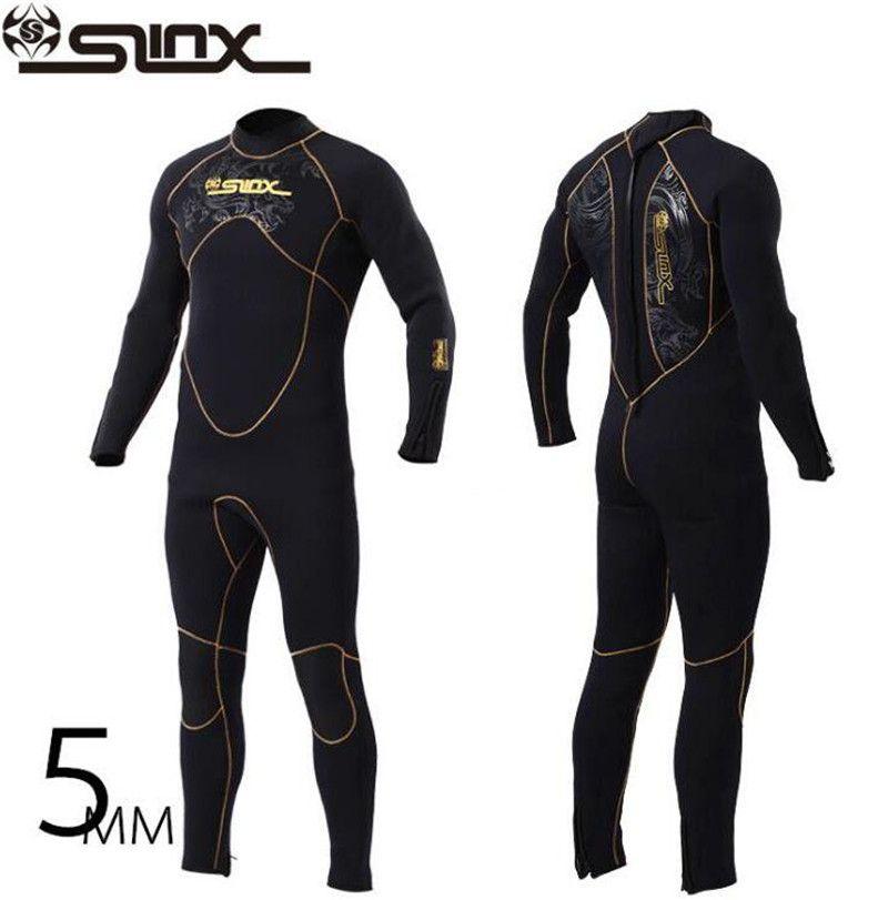 SLINX 1106 5mm Neoprene Men Scuba Diving Suit Fleece Lining Warm Wetsuit Snorkeling Kite Surfing Spearfishing Swimwear
